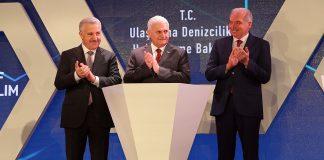 Ulaştırma, Denizcilik ve Haberleşme Bakanı Ahmet Arsan, Başbakan Binali Yıldırım ve İstanbul Büyükşehir Belediye Başkanı Mevlüt Uysal