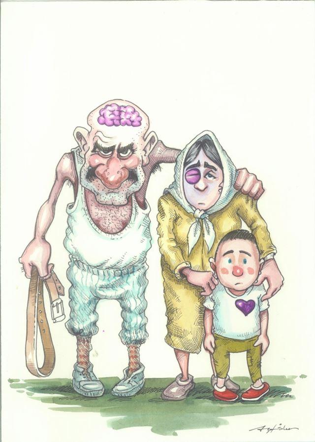 kadına yönelik şiddet mansiyon karikatür