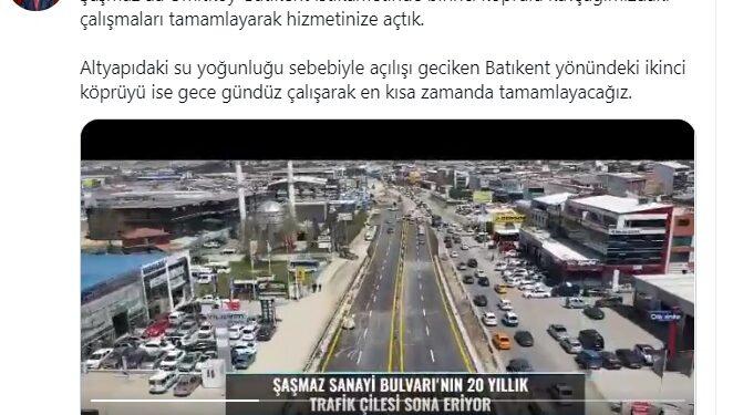Büyükşehir Belediye Başkanı Mansur Yavaş, sosyal medya hesaplarından yaptığı paylaşımla 20 yıldır trafik çilesinin yaşandığı ŞaşmazSanayi Bulvarı'nda Ümitköy-Batıkent istikametindeki birinci köprülü kavşağın tamamlanarak hizmete açıldığını duyurdu.