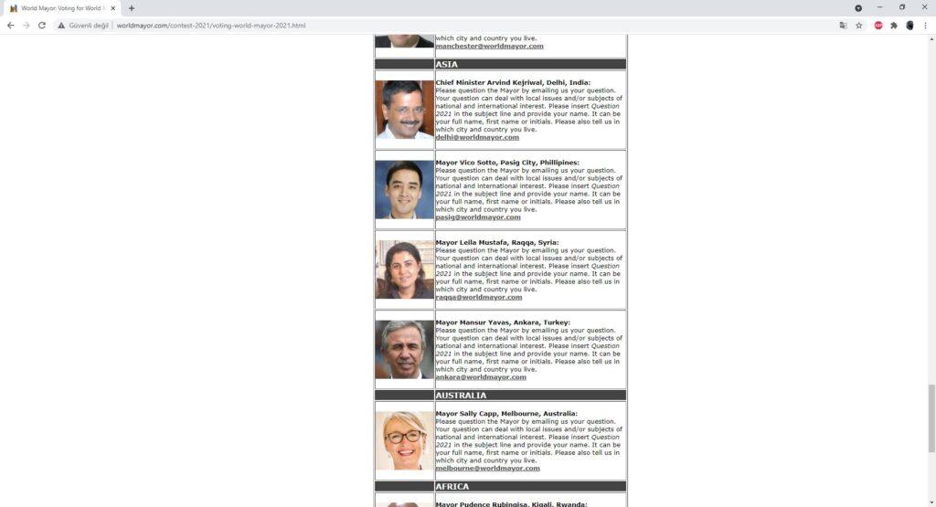 Ankara Büyükşehir Belediye Başkanı Mansur Yavaş, World Mayor'da 2021 Dünya Belediye Başkanı Ödülü finalistleri arasında gösterildi.